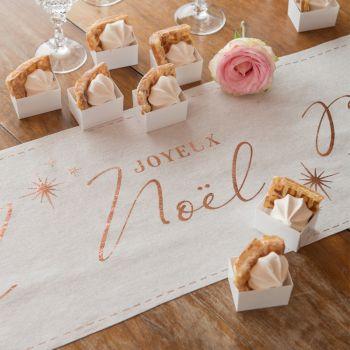 Chemin de table Joyeux Noël couture blanc/gold rose