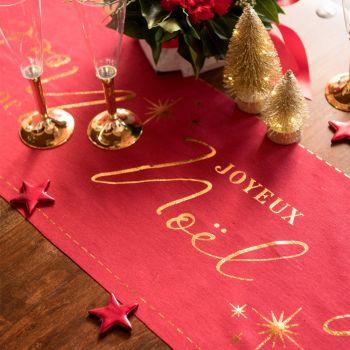 Chemin de table Joyeux Noël couture rouge