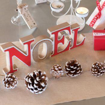 Joyeux Noël en bois à poser rouge et or pailleté