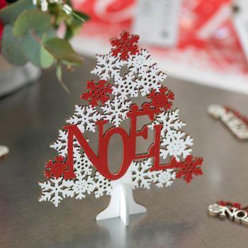 Sapin Noël en bois à poser rouge et blanc