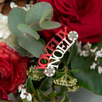 10 Confettis Joyeux Noël en bois rouge et blanc