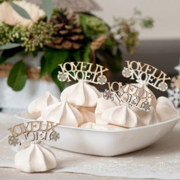 10 Confettis Joyeux Noël en bois naturel et blanc