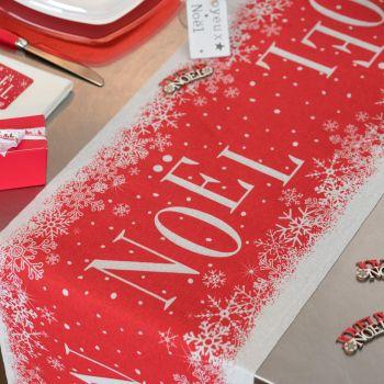 Chemin de table Noël enneigé rouge et blanc