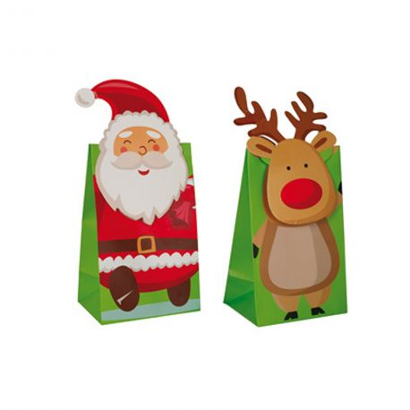 2 Sachets décor Père Noël et renne pour une belle décoration de table de Noël, à remplir de douceursDimensions : 8.5cm x 6cm x 14cm