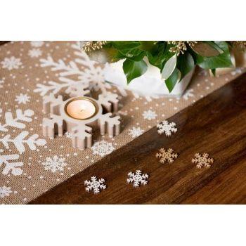 12 Confettis bois flocons blanc