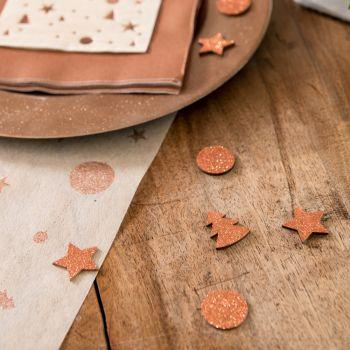 12 Confettis bois pailleté gold rose