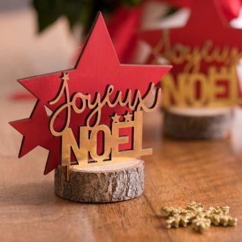 Décor Joyeux Noël étoiles rouge et or