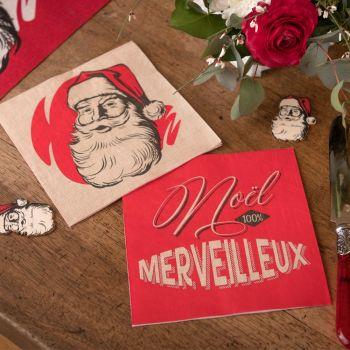 20 Serviettes Père Noël d'antan