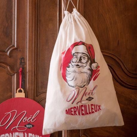 Grand sac en coton décor Père Noël d'antan pour une belle décoration de NoëlDimensions : 40cm x 59cm