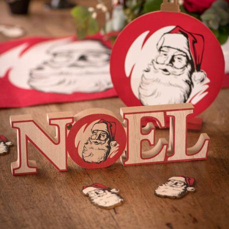 Lettre Noël en bois à poser décor Père Noël d'antan pour une belle décoration de table de NoëlDimensions : 23.5cm x 7cm x 2cm