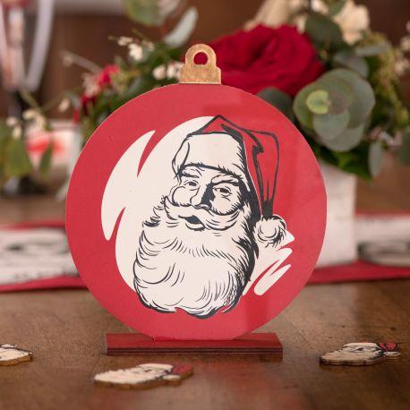 Décor en bois Père Noël d'antan pour une belle décoration de table de NoëlDimensions : 18cm x 16cm x 4cm