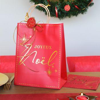 Sac cadeau Joyeux Noël rouge