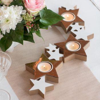 Porte bougies étoiles gold rose