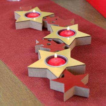 Porte bougies étoiles rouge et or