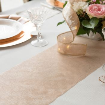 Chemin de table organdi gold rose