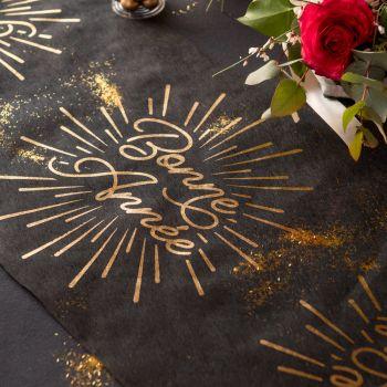 Chemin de table Bonne année étincelant or