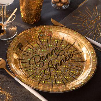 10 assiettes Bonne année étincelant or
