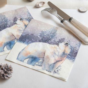 20 serviettes ours polaire