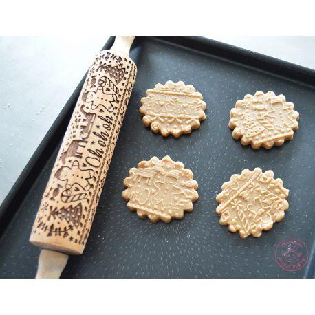 Rouleau en bois pour réaliser des empreintes originales sur vos biscuits !Motif :