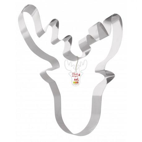 Moule découpoir XXL en forme de tête de cerf: à la fois moule et découpoir en inox !Parfait pour cuire une génoise, dresser un...
