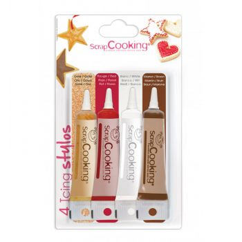 4 Stylo glaçage or choco blanc rouge Scrapcooking