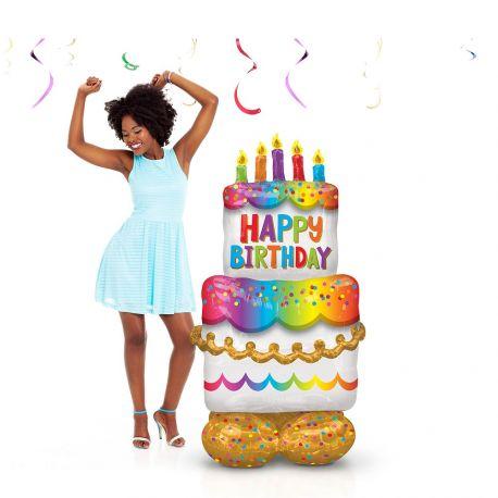 Génialissime, ballon géant à poser par terre en aluminium à gonfler SANS hélium en forme de gros gâteau à étage pour la déco de votre...