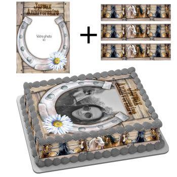 Kit Easycake pour gâteau rectangle personnalisé Passion Cheval