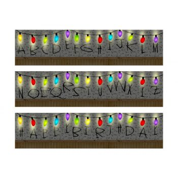 3 Bandes de gâteaux sucre décor Stranger Birthday