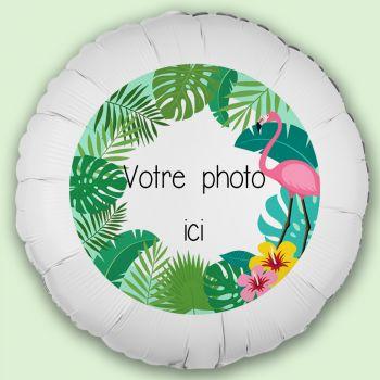 Ballon personnalisé décor Tropical Flamingo