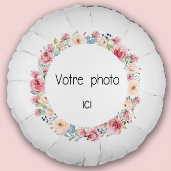 Ballon personnalisé décor Fleurs aquarelles