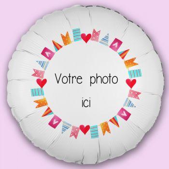 Ballon personnalisé décor Fanions d'amour