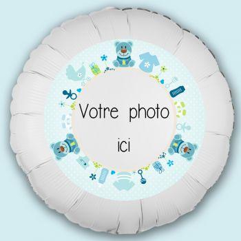 Ballon personnalisé décor Bébé ours bleu