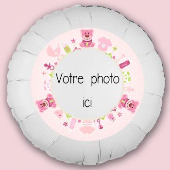 Ballon personnalisé décor Bébé ours rose