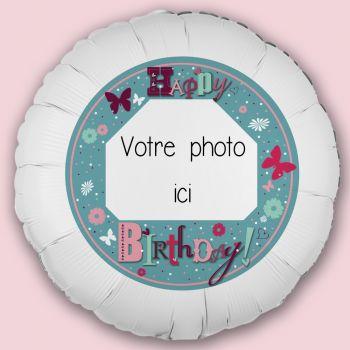 Ballon personnalisé décor Happy Birthday Jardin