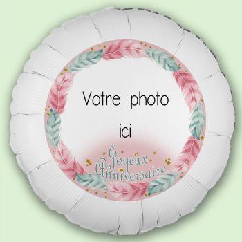 Ballon personnalisé décor Plume