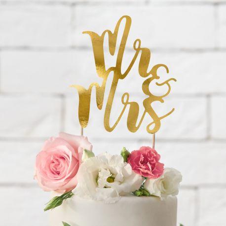 Superbe cake topper métallisé or Mr & Mrs pour décorer votre wedding cake, décoration chic, sobre et très tendanceDimensions :...