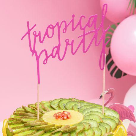 Superbe cake topper Tropical party fuschia pour décorer votre gâteau d'anniversaire, décoration chic, sobre et très...