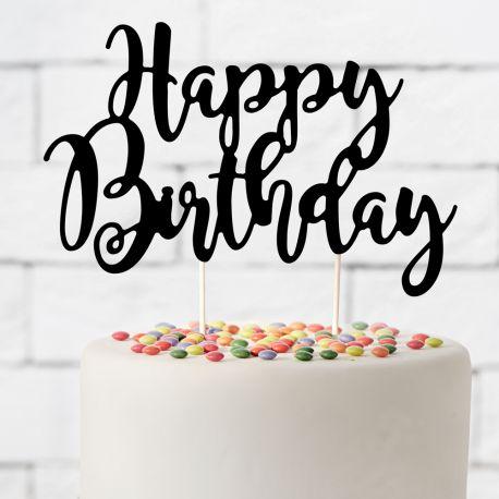 Superbe cake topper Happy Birthday noir pour décorer votre gâteau d'anniversaire, décoration chic, sobre et très tendanceDimensions :...