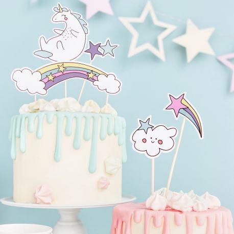 Décorez votre gâteau avec ce kit cake topper sur le thème Licorne pour faire une décoration d'anniversaire ultra tendance...