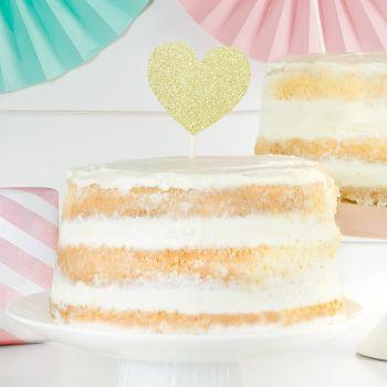 6 Pics déco gâteau coeur pailleté or