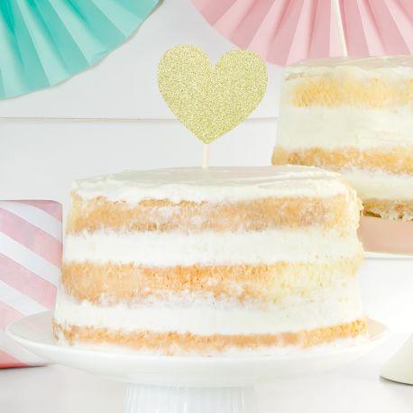 6 Pics décors de gâteaux en forme de coeur or pailletés pour faire une décoration de gâteaux ultra tendance !Dimensions : entre 11 cm