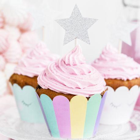6 Pics décors de gâteaux en forme d'étoiles argent pailletés pour faire une décoration de gâteaux ultra tendance !Dimensions :...