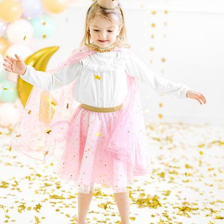 Superbe jupe en tulle rose avec étoile et lune métallisé or incrusté pour être la princesse d'un jour pour son anniversairePour 3-7...