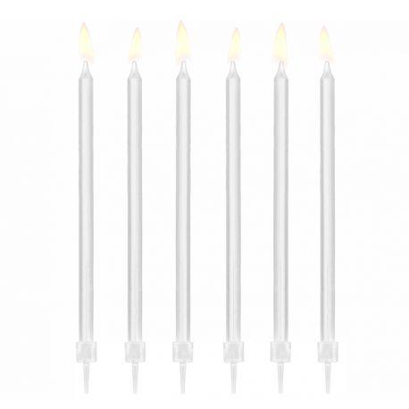 12 bougies avec bobêches de couleur blanches tendances pour faire une décoration de gâteau d'anniversaireDimensions : 14cm