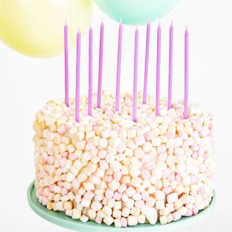 12 bougies avec bobêches de couleur lilas tendances pour faire une décoration de gâteau d'anniversaireDimensions : 14cm