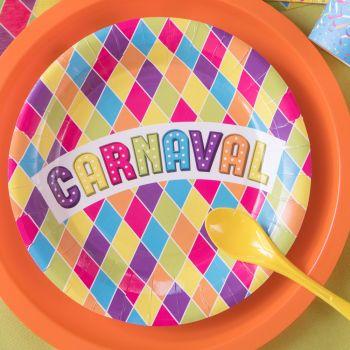 10 Assiettes carton Carnaval