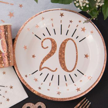 10 Assiettes étincelant gold rose 20 ans