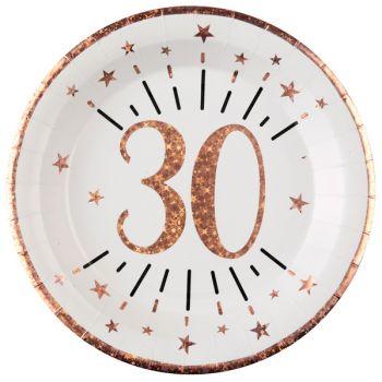 10 Assiettes étincellant gold rose 30 ans