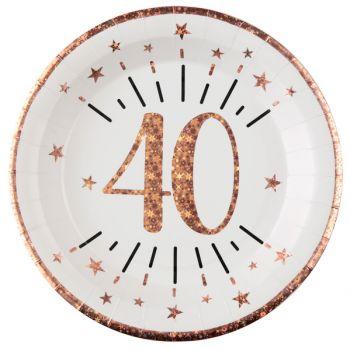 10 Assiettes étincellant gold rose 40 ans