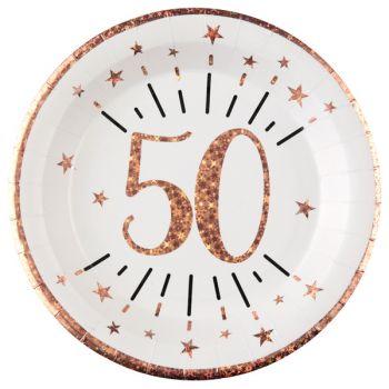 10 Assiettes étincellant gold rose 50 ans